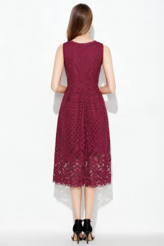 VEIISAR Womens Fashion Sleeveless Lace Fit Flare Elegant Cocktail Party Dress 7