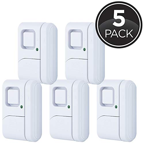 GE Personal Security Window/Door, 5-Pack, DIY Protection, Burglar Alert, Magnetic Sensor, Off/Chime/Alarm, Easy Installation, Ideal for Home, Garage, Apartment, Dorm, RV and Office, 45987, Piece