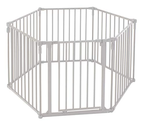 "Toddleroo by North States 3-in-1 Metal Superyard: 144"" long extra-wide gate, barrier or play yard. Hardware or freestanding. 6 panels, 10 sq.ft. enclosure (30"" tall, Beige)"