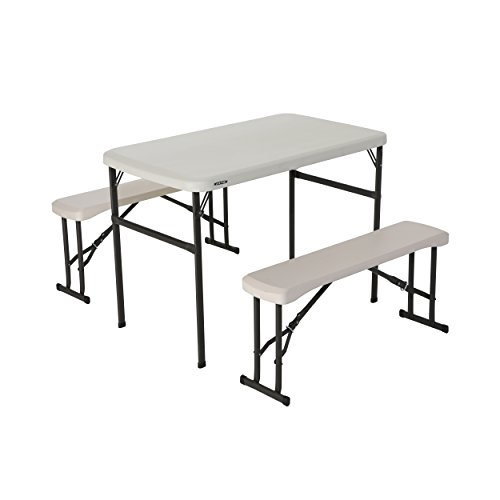 Lifetime-80373-Portable-Folding-Camping-RV-Picnic-Table-and-Bench-Set-Almond