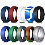 COOLOO Silicone Wedding Ring for Men, 10 Pack Affordable Silicone Rubber Wedding Bands Durable Comfortable Antibacterial Rings, Black White Blue Silver Gray