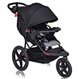 Costzon Baby Jogger Stroller, All Terrain Lightweight Fitness Jogging Stroller w/Parental Cup Phone Holder, Free Tractive Webbing, Large Storage Basket (Black)