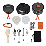 Bisgear 16pcs Camping Cookware Stove Carabiner Folding Spork Set Outdoor Camping Backpacking Non-Stick Cooking Non-Stick Picnic Bowl Pot Pan, Folding Spork, Mini Stove with Piezo Ignition
