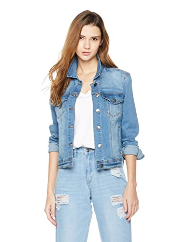 4131AVjiTjL Machine Wash An Amazon brand Stretch denim jacket with fold-over collar, flap-button chest pockets, and side pockets