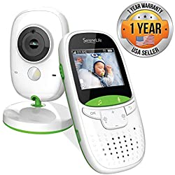 """Video Baby Monitor Long Range - Upgraded 850' Wireless Range, Night Vision, Temperature Monitoring and Portable 2"""" Color Screen - Serenelife USA SLBCAM10"""
