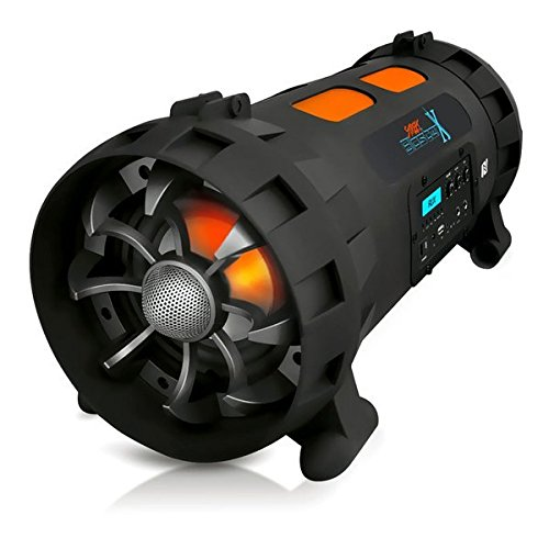 Pyle Street Blaster X High Powered Portable BoomBox Stereo Speaker w/ Wireless Bluetooth / NFC, USB Recording,  Rechargeable Battery, AUX Input, FM Radio, MP3 System, Mic and Guitar Input - PBMSPG200