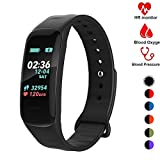 Fitness Tracker,Activity Tracker Watch with Heart Rate Blood Pressure Blood Oxygen Monitor,Waterproof Smart Fitness Band with Step Counter,Calorie Counter,Sleep Monitor for Kids Women and Men (black2)