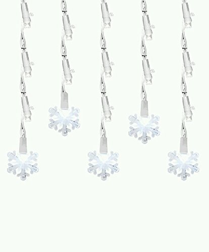 Set of 60 Pure White LED Icicle Snowflake Christmas Lights - White Wire by Brite Star