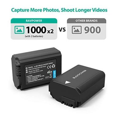 NP-FW50-RAVPower-Camera-Batteries-Charger-Set-for-Sony-A6000-Battery-A6400-A6300-A6500-A7-A7II-A7RII-A7SII-A7S-A7S2-A7R-A7R2-A55-A5100-RX10-Accessories-2-Pack-Micro-USB-Port-1100mAh