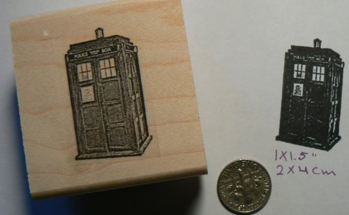 Dr. Who phonebooth Tardis Rubber Stamp P49c