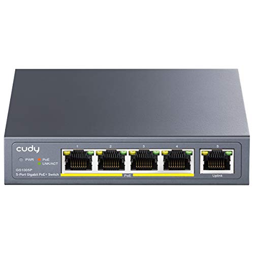 Cudy-GS1005P-5-Port-Gigabit-Ethernet-Unmanaged-PoE-Switch-with-4-x-PoE--60W-DesktopWall-Sturdy-Metal-Fanless-Housing-8023af-8023at-Shielded-Ports-Traffic-Optimization-Plug-and-Play