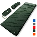MalloMe Sleeping Pad Camping Air Mattress - Self Inflating Mat Bed for Backpacking Adults - Inflatable Ultralight Insulated Soft Foam Sleep Gear - Lightweight Travel Cot Roll Mats Accessories Green