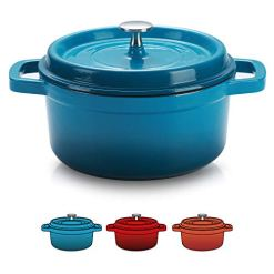 Enameled Cast Iron Dutch Oven Peacock Blue