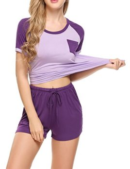 3c82bf0993 Ekouaer Women s Pajamas Short Sleeve PJ Set Modal Round Neck Sleepwear