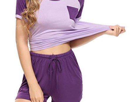 Ekouaer Women's Pajamas Short Sleeve PJ Set Modal Round Neck Sleepwear S-XXL