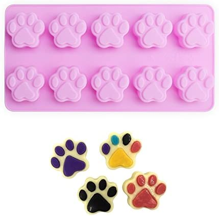 homEdge Puppy Dog Paw and Bone Silicone Molds, Non-Stick Food Grade Silicone Molds for Chocolate, Candy, Jelly, Ice Cube, Dog Treats (Puppy Paw Bone Set of 4PCS)