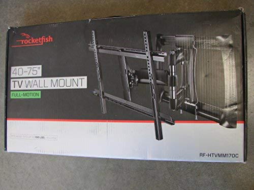 Rocketfish - Full-Motion TV Wall Mount for Most 40' - 75' TVs (RF-HTVMM170C) Black - New, Non-Retail Packaging