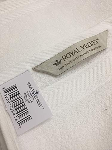 Royal Velvet 100% Cotton Washcloths - Set of 6 - White