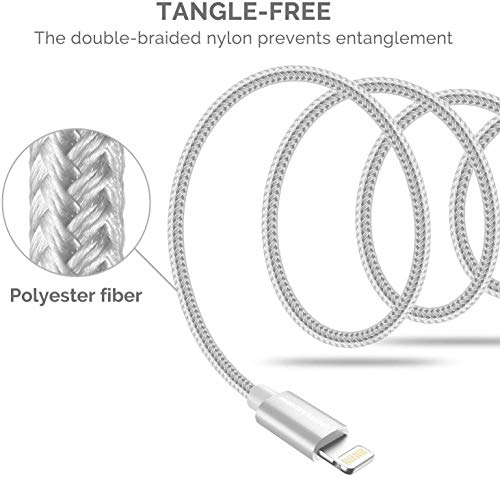 413dZMpRm6L - UNBREAKcable iPhone Charger Cable - [6.6ft/2m, Apple MFi Certified] Nylon Braided Charger USB Fast Charging Lightning Cable for iPhone 11 Pro Max Xs X XR 8 7 6s 6 SE 5 5s 5c iPad iPod–Upgraded