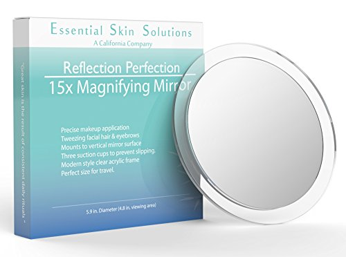 15X Magnifying Mirror – Use for Makeup Application - Tweezing – and Blackhead/Blemish Removal – Round Mirror with Three Suction Cups for Easy Mounting, 6 Inch