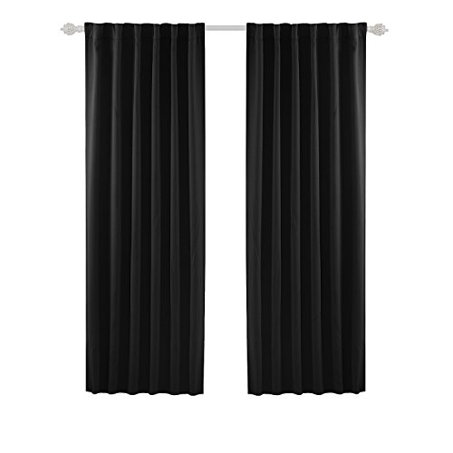 Deconovo Black Blackout Curtains 84 Inch Long Back Tab and Rod Pocket Blackout Curtain Panels for Living Room 2 Panels 52x84 Inch