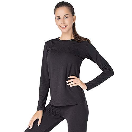 Thermal Underwear for Women Long Johns Set Fleece Lined Ultra Soft (Black, Medium)