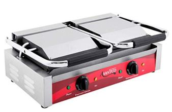 Avantco-P85S-Double-Commercial-Panini-Sandwich-Grill-with-Smooth-Plates-18-316-x-9-116-Cooking-Surface-120V-3500W