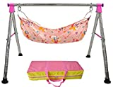 EverEx Folding Stainless Steel Indian Style ghodiyu palna Swing Cradle jhula for Born Baby with Hammock. (Pink)