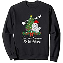 Maltese Dog Lover Christmas Sweatshirt Xmas Tree Gift