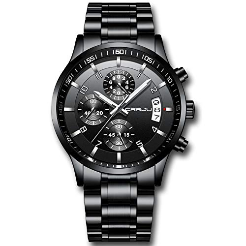 CRRJU Men's Fashion Chronograph Sport Wristwatches,Casual Business Stainsteel Steel Band Waterproof Watch