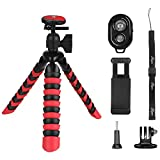 Phone Tripod,PEYOU [5 in 1] Octopus Portable Tripod Stand + Mount Holder for Gopro Phone + Bluetooth Wireless Remote Shutter Compatible for iPhone XS Max XR X 8 7 6 Plus,for Galaxy Note 9 8 S9 S8 Plus