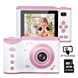 Kids Camera, 8.0MP Creative Digital Dual Camera, Rechargeable Children Camcorder with 2.8'' Touch Screen, 4X Digital Zoom, Gift for 3-12 Years Old Girls Boys Party Outdoor, Pink(16GB TF Card Included)