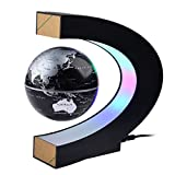 Petforu Magnetic Levitation, High Rotation C Shape Magnetic Suspension Maglev Levitation Globe with LED Lights for Learning Education Teaching Demo Home Office Desk Decoration(US Plug) - Black
