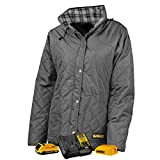 DEWALT DCHJ084CD1-M Woman's Flannel Lined Diamond Quilted Jacket, M, Charcoal