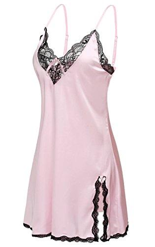 Halife Women's Sexy Sling V-neck Lace Trim Satin Chemises Slip Sleepwear (XXL, Pink)