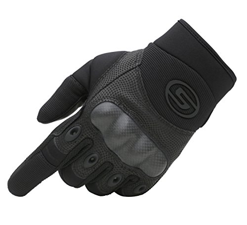 Seibertron Men's Hard Knuckle Military Leather Palm Carbon Fiber Glove Outdoor Sports Tactical Airsoft Hunting Cycling Bike Motorcycle MTB Gloves Black XL