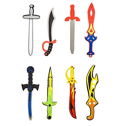 Super Z Outlet Assorted Foam Toy Swords for Children with Different Designs Including Ninja, Pirate, Warrior, and Viking (8 Pack)