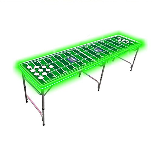AMGS Beer Pong Table with Color LED Glow Lights for Outdoor Indoor Party Portable Tailgate Football Gaming Design & e-book by Amglobalsupplies