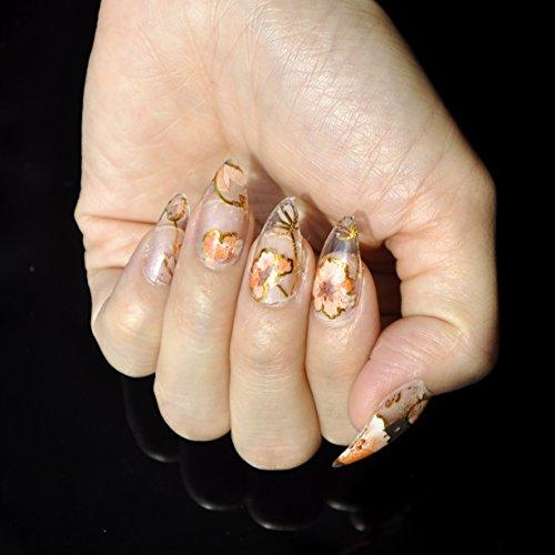 Orange Flower Pattern Nail Art Foil Vine Flowers Nail Decals