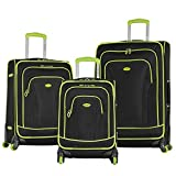 Olympia Santa Fe 3-Piece Exp. Luggage Set, BLACK+LIME