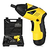 INLIFE Electric Cordless Screwdriver Set, Rechargeable Drill/Driver Kit 4.8V 800mAh Li-ion MAX Torque 6N.m Screw Power Gun with 34 Screw-driver Bits