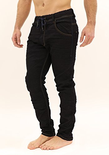 414MpLTG2XL Dark-wash jean in jogger-inspired silhouette featuring drawstring waistband and five-pocket styling False fly Back pockets with signature stitching