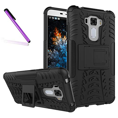 ZenFone 3 Laser Case, Tyre Pattern Design Heavy Duty Tough Armor Extreme Protection Case with Kickstand Shock Absorbing Detachable 2 in 1 Case Cover for ASUS ZenFone 3 Laser ZC551KL. Hyun Black