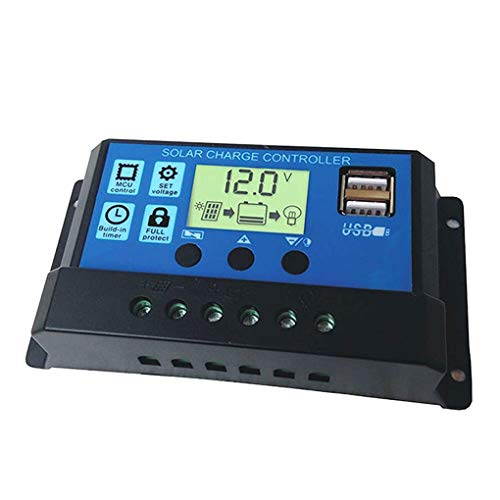 Tralntion 10A/20A/30A Solar Charge Controller 12V 24V Auto Solar Cell Panel Regulator Home Battery Charger LCD Dual USB