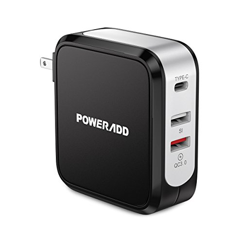 Poweradd Quick Charge 3.0 USB Wall Charger 43W with USB C Output, Foldable Plug for iPhone, Galaxy S7/S6/Edge/Plus, Note 5/4, LG G5 V10, HTC One A9/M9, Nexus 6, and More