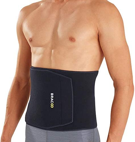 Bracoo Premium Waist Trimmer Wrap (Broad Coverage), Sweat Sauna Slim Belt for Men and Women - Abdominal Trainer, Increased Core Stability, Metabolic Rate, SE22 (L/XL) Black 1