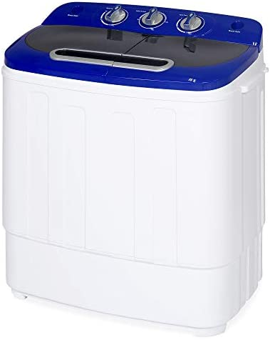 Best Choice Products Portable Compact Twin Tub Laundry Machine & Spin Cycle w/Hose, 13lbs Capacity – White/Blue