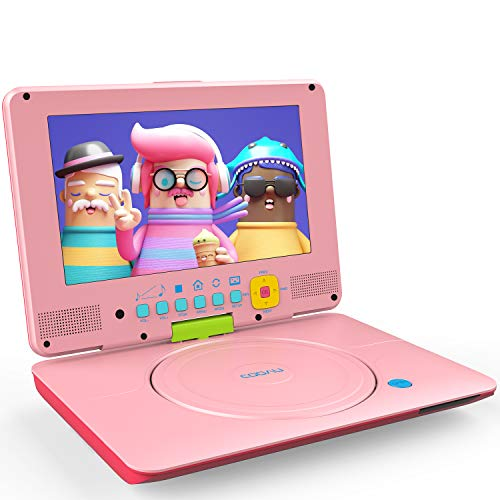 COOAU Portable DVD Player Upgraded 12' with HD 9.5' Swivel Screen, Support All Region & Full DVD Format Discs, 1080P Video Files. Front Control Button and IR Signal, Battery Indicator, Coral Pink