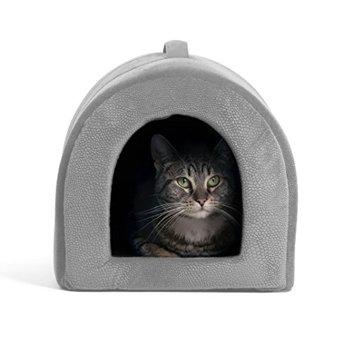 "Best Friends by Sheri Pet Igloo Hut, ilan, Gray - Cat and Small Dog Bed Offers Privacy and Warmth for Better Sleep - 17x13x12"" - For Pets 9lbs or Less"