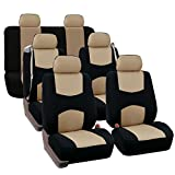 FH GROUP FH-FB351217 Three Row Full Set - All Purpose Flat Cloth Built-In Seat Belt Car Seat Cover Beige / Black - Fit Most Truck, Suv, or Van